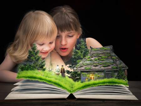 things to do - two children with a big book