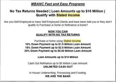 Stated Income email