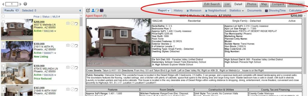 ARMLS Portal Details Display