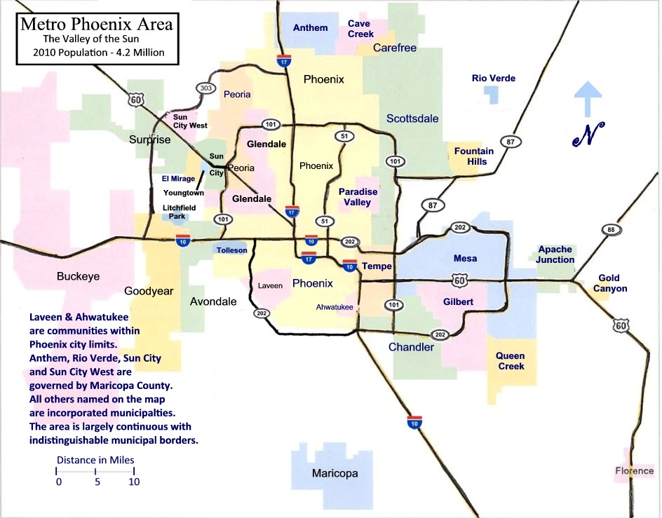 map of phoenix and surrounding area Metro Phoenix Map The Neal Team T N T Dyn O Mite Realtors map of phoenix and surrounding area