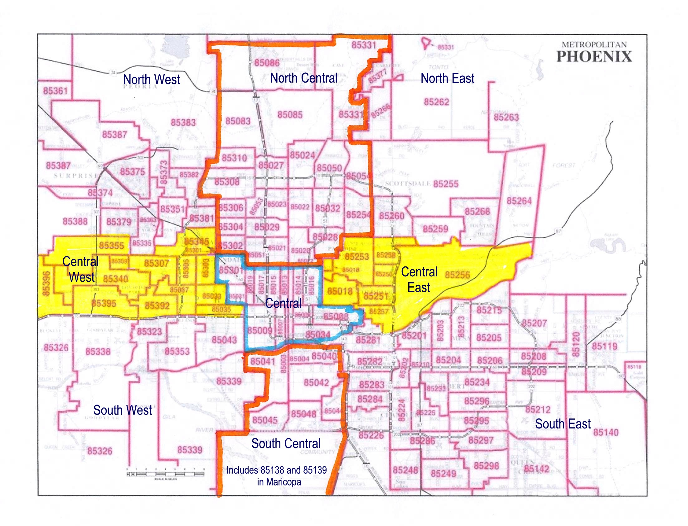 metro-Phoenix Areas by Zip