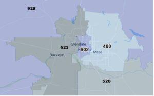 AZ Area Codes Map