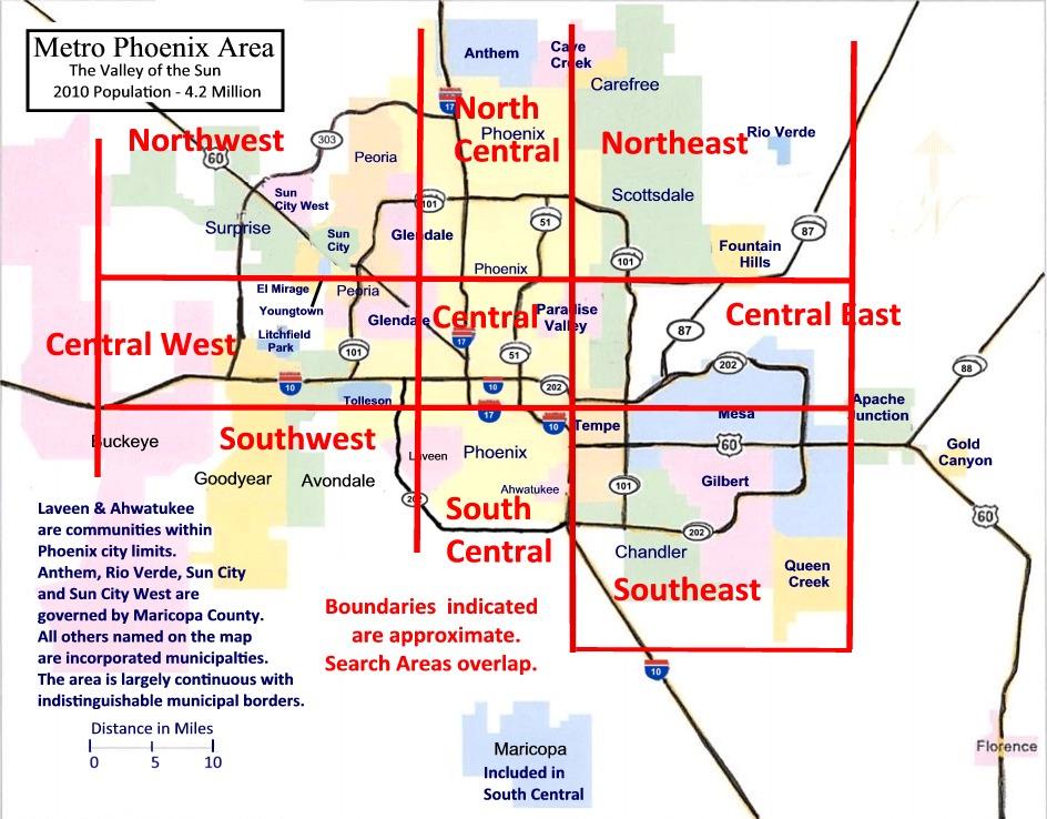 Metro Phoenix map with 3x3 Grid
