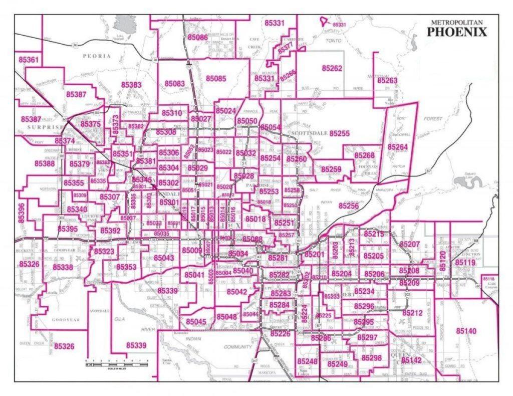 metro-Phoenix Zip Codes Map