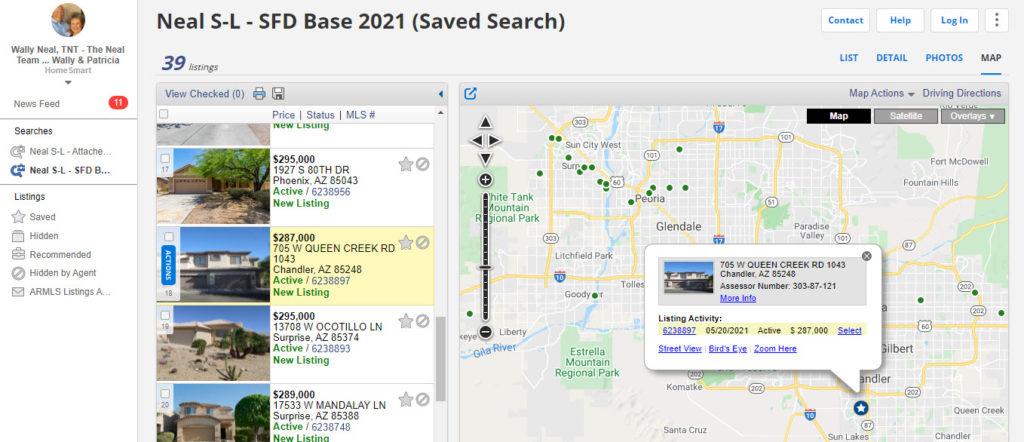 ARMLS Portal Map Dot Click Screen